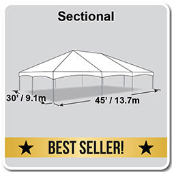 30' x 45' Master Series Frame Tent, Sectional Tent Top, Complete