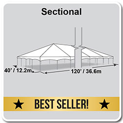 40' x 120' Master Series Frame Tent, Sectional Tent Top, Complete