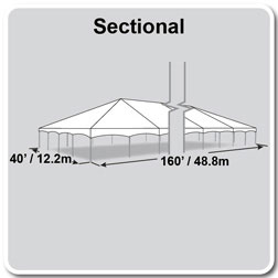 40' x 160' Master Series Frame Tent, Sectional Tent Top, Complete