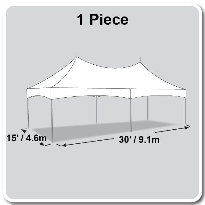 15' x 30' Pinnacle Series High Peak Frame Tent / Cross Cable Marquee, Complete