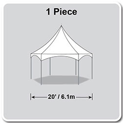 20' Pinnacle Series Hexagon High Peak Frame Tent / Cross Cable Marquee, Complete
