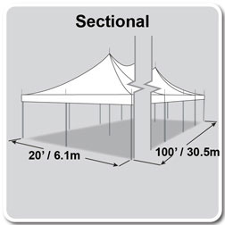 20' x 100' Premiere I Series High Peak Pole Tent, Sectional Tent Top, Complete