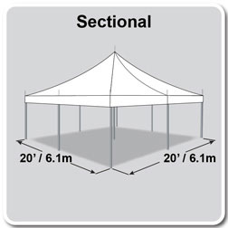 20' x 20' Premiere I Series High Peak Pole Tent, Sectional Tent Top, Complete