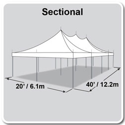 20' x 40' Premiere I Series High Peak Pole Tent, Sectional Tent Top, Complete