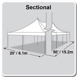 20' x 50' Premiere I Series High Peak Pole Tent, Sectional Tent Top, Complete