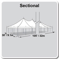 30' x 105' Premiere I Series High Peak Pole Tent, Sectional Tent Top, Complete