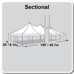 30' x 150' Premiere I Series High Peak Pole Tent, Sectional Tent Top, Complete