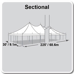 30' x 225' Premiere I Series High Peak Pole Tent, Sectional Tent Top, Complete