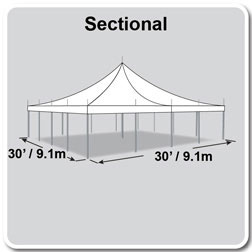 30' x 30' Premiere I Series High Peak Pole Tent, Sectional Tent Top, Complete