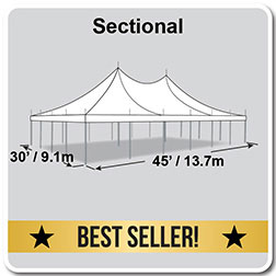 30' x 45' Premiere I Series High Peak Pole Tent, Sectional Tent Top, Complete