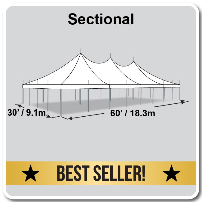 30 X 60 Premiere I Series High Peak Pole Tent Sectional Top Complete