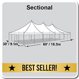 30' x 60' Premiere I Series High Peak Pole Tent, Sectional Tent Top, Complete