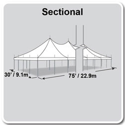 30' x 75' Premiere I Series High Peak Pole Tent, Sectional Tent Top, Complete