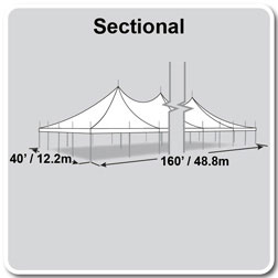 40' x 160' Premiere I Series High Peak Pole Tent, Sectional Tent Top, Complete