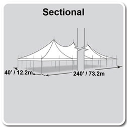 40' x 240' Premiere I Series High Peak Pole Tent, Sectional Tent Top, Complete