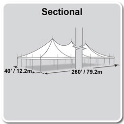 40' x 260' Premiere I Series High Peak Pole Tent, Sectional Tent Top, Complete