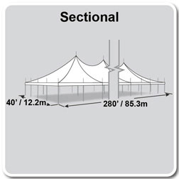 40' x 280' Premiere I Series High Peak Pole Tent, Sectional Tent Top, Complete