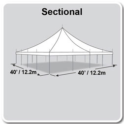 40' x 40' Premiere I Series High Peak Pole Tent, Sectional Tent Top, Complete