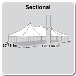 30' x 120' Premiere II Series High Peak Pole Tent, Sectional Tent Top, Complete