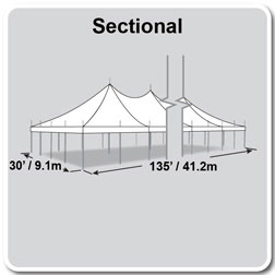 30' x 135' Premiere II Series High Peak Pole Tent, Sectional Tent Top, Complete