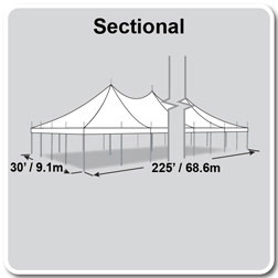 30' x 225' Premiere II Series High Peak Pole Tent, Sectional Tent Top, Complete