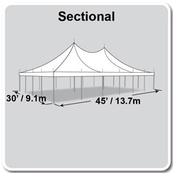 30' x 45' Premiere II Series High Peak Pole Tent, Sectional Tent Top, Complete