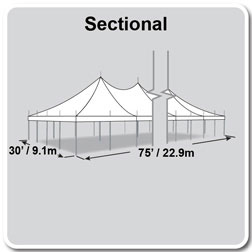 30' x 75' Premiere II Series High Peak Pole Tent, Sectional Tent Top, Complete