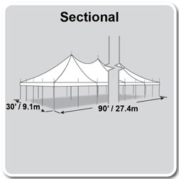 30' x 90' Premiere II Series High Peak Pole Tent, Sectional Tent Top, Complete