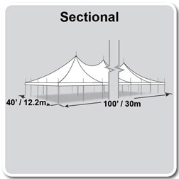 40' x 100' Premiere II Series High Peak Pole Tent, Sectional Tent Top, Complete