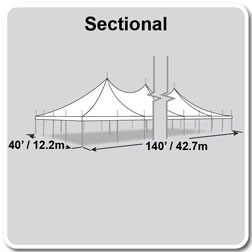 40' x 140' Premiere II Series High Peak Pole Tent, Sectional Tent Top, Complete