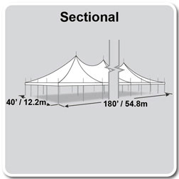 40' x 180' Premiere II Series High Peak Pole Tent, Sectional Tent Top, Complete