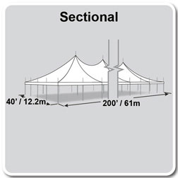 40' x 200' Premiere II Series High Peak Pole Tent, Sectional Tent Top, Complete