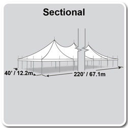40' x 220' Premiere II Series High Peak Pole Tent, Sectional Tent Top, Complete