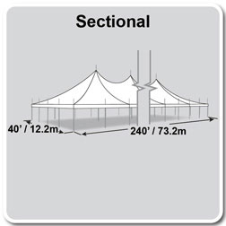 40' x 240' Premiere II Series High Peak Pole Tent, Sectional Tent Top, Complete