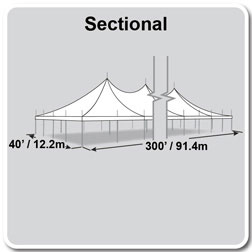 40' x 300' Premiere II Series High Peak Pole Tent, Sectional Tent Top, Complete