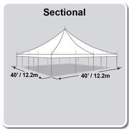 40' x 40' Premiere II Series High Peak Pole Tent, Sectional Tent Top, Complete