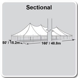 50' x 160' Premiere II Series High Peak Pole Tent, Sectional Tent Top, Complete