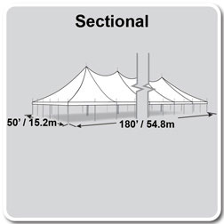 50' x 180' Premiere II Series High Peak Pole Tent, Sectional Tent Top, Complete