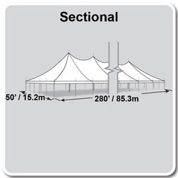 50' x 280' Premiere II Series High Peak Pole Tent, Sectional Tent Top, Complete