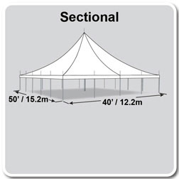 50' x 40' Premiere II Series High Peak Pole Tent, Sectional Tent Top, Complete