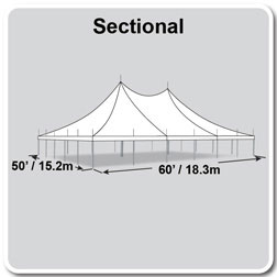 50' x 60' Premiere II Series High Peak Pole Tent, Sectional Tent Top, Complete