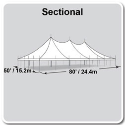 50' x 80' Premiere II Series High Peak Pole Tent, Sectional Tent Top, Complete