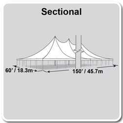 60' x 150' Premiere II Series High Peak Pole Tent, Sectional Tent Top, Complete