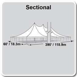 60' x 390' Premiere II Series High Peak Pole Tent, Sectional Tent Top, Complete