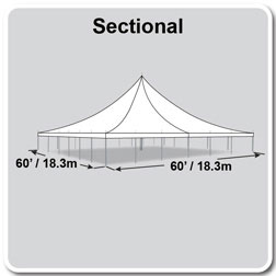 60' x 60' Premiere II Series High Peak Pole Tent, Sectional Tent Top, Complete