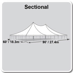 60' x 90' Premiere II Series High Peak Pole Tent, Sectional Tent Top, Complete