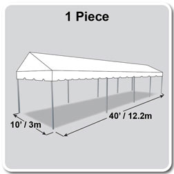 10' x 40' Classic Series Gable End Frame Tent, 1 Piece Tent Top, Complete