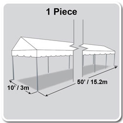 10' x 50' Classic Series Gable End Frame Tent, 1 Piece Tent Top, Complete