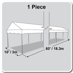 10' x 60' Classic Series Gable End Frame Tent, 1 Piece Tent Top, Complete