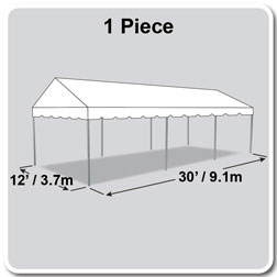 12' x 30' Classic Series Gable End Frame Tent, 1 Piece Tent Top, Complete